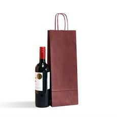 Pack of 25 Italian Brown Paper One Bottle Bag with Twisted Handles